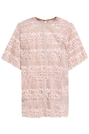 VALENTINO Metallic cotton-blend corded lace top