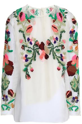 VALENTINO Embroidered silk-organza blouse