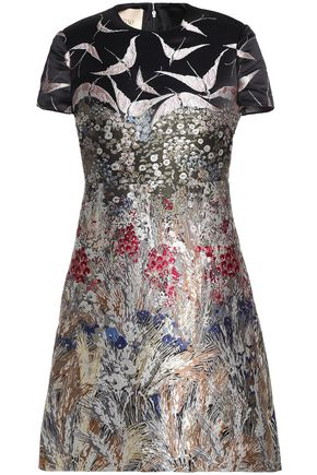 VALENTINO Metallic jacquard mini dress