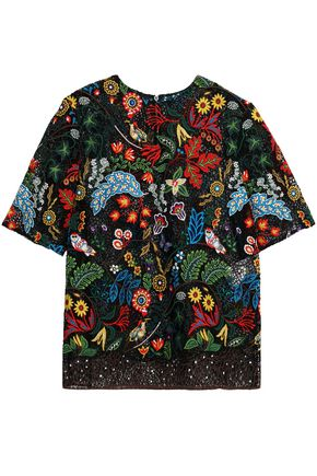VALENTINO Embroidered cotton-blend lace top