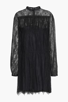VALENTINO Gathered silk-lace mini dress