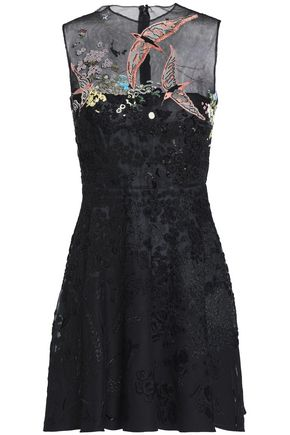 VALENTINO Embellished tulle wool and silk-blend mini dress