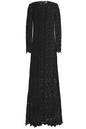 VALENTINO Fluted cotton-blend guipure lace gown