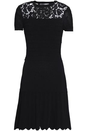 VALENTINO Corded lace-trimmed knitted mini dress