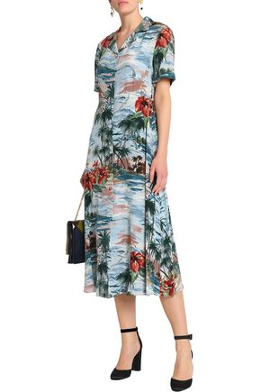 VALENTINO Printed silk-crepe de chine midi dress