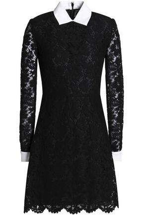 VALENTINO Piqué-trimmed corded lace mini dress
