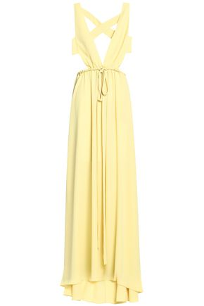 VALENTINO Open-back gathered silk-crepe gown