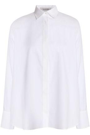 VALENTINO Piqué-trimmed cotton-poplin shirt