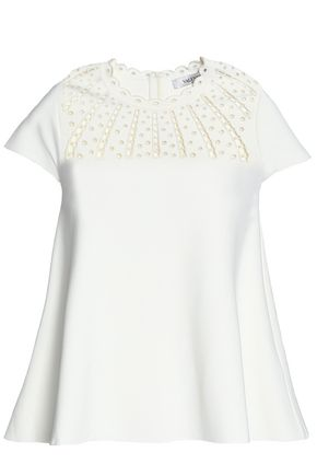 VALENTINO Broderie anglaise-trimmed ponte top