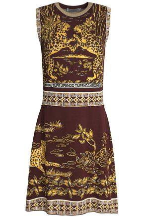 VALENTINO Jacquard-knit mini dress