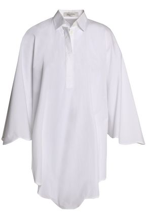 VALENTINO Draped cotton-poplin shirt