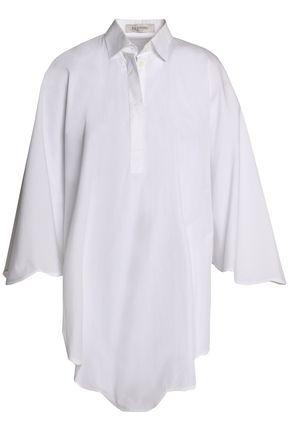 VALENTINO Draped cotton-poplin shirt