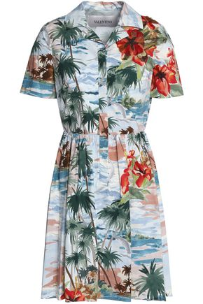 VALENTINO Embellished printed cotton-poplin mini shirt dress