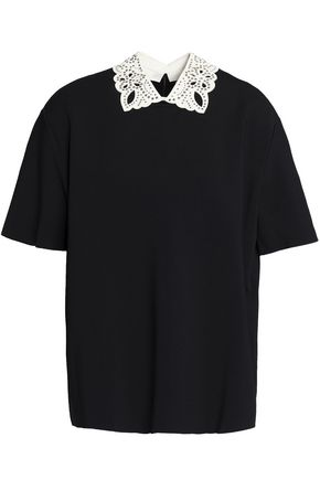 VALENTINO Embellished leather-trimmed ponte top