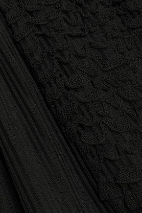 VALENTINO GARAVANI Paneled fringe-trimmed knitted mini dress
