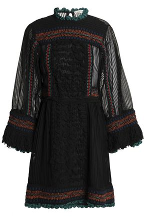 VALENTINO Paneled fringe-trimmed knitted mini dress
