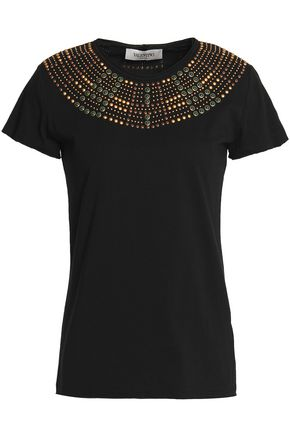 VALENTINO Studded cotton-jersey top