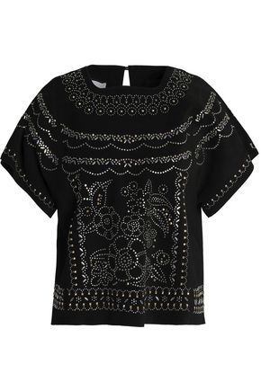 VALENTINO Studded suede top