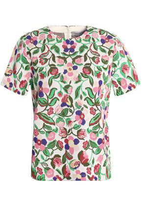 VALENTINO Floral-print jacquard-knit top