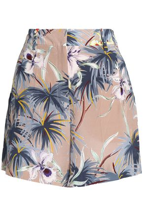 VALENTINO Printed silk-crepe de chine shorts