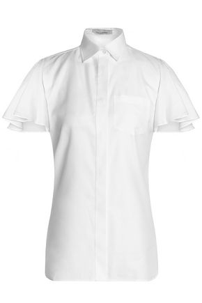VALENTINO Ruffled cotton-piqué shirt