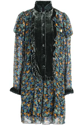 ANNA SUI Velvet-trimmed printed silk-blend fil coupé top