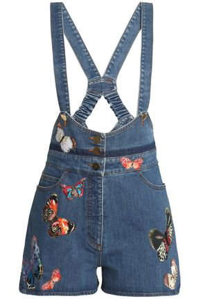 VALENTINO Embroidered denim overalls