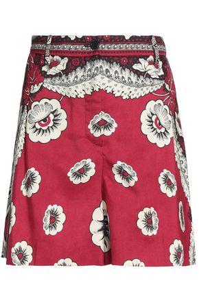 VALENTINO Printed silk-crepe shorts