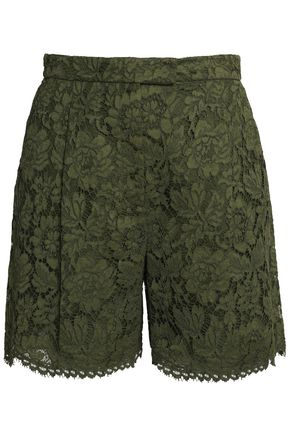VALENTINO Corded lace cotton-blend shorts