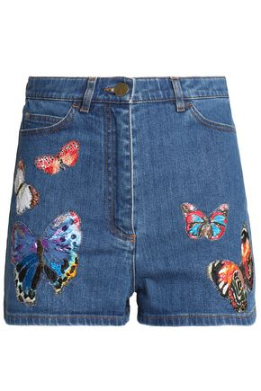 VALENTINO Embroidered denim shorts