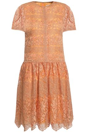 VALENTINO Metallic paneled macramé and lace mini dress