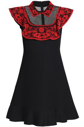 VALENTINO Tulle-paneled beaded wool and silk-blend mini dress