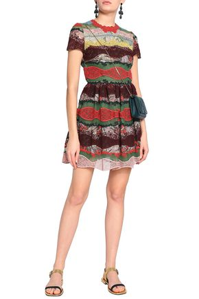 VALENTINO Point d'esprit and lace-paneled printed cotton mini dress