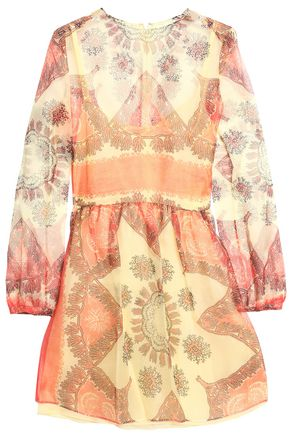 VALENTINO Printed silk-chiffon mini dress