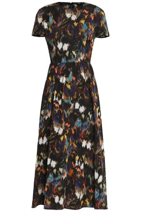 VALENTINO Pleated printed cotton and silk-blend midi dress