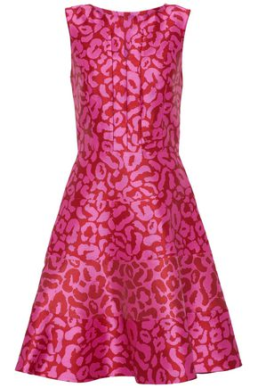 OSCAR DE LA RENTA Flared leopard-print satin-jacquard dress