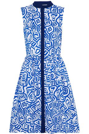 OSCAR DE LA RENTA Gathered printed stretch-cotton poplin dress