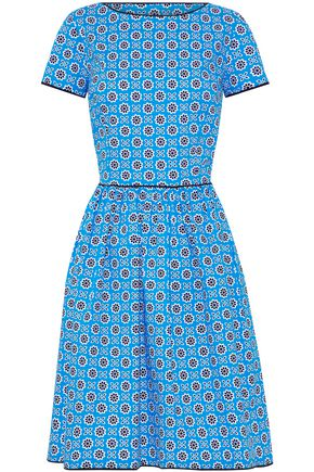 OSCAR DE LA RENTA Pleated floral-print stretch cotton-poplin dress