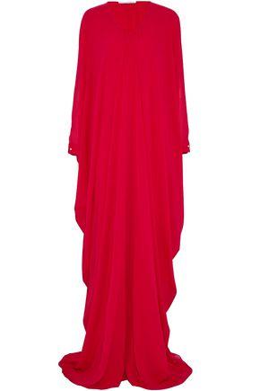 OSCAR DE LA RENTA Draped silk-chiffon gown