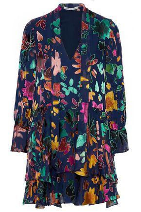 ALICE + OLIVIA Prisma ruffled devoré-velvet mini dress