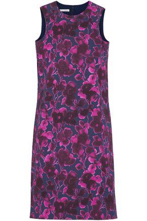 OSCAR DE LA RENTA Crinkled floral-print cotton-blend mini dress