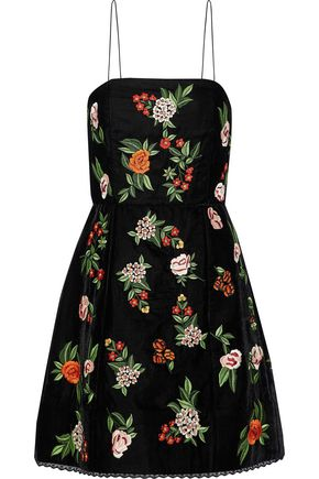 ALICE + OLIVIA Embroidered velvet mini dress