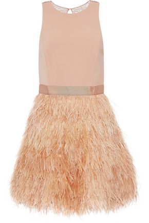 ALICE + OLIVIA JEANS Philomena feather-trimmed tulle and crepe mini dress