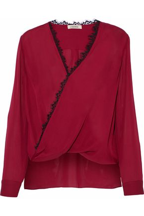 L'AGENCE Rosario lace-trimmed wrap-effect silk blouse