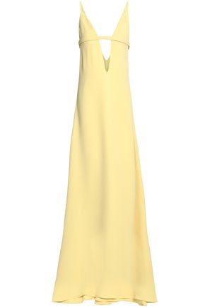 VALENTINO Bow-detailed cutout silk-crepe gown