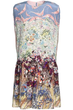 VALENTINO Gathered printed silk-blend crepe de chine mini dress