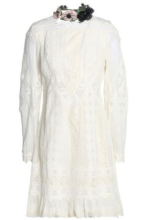 VALENTINO Lace-trimmed broderie anglaise cotton mini dress