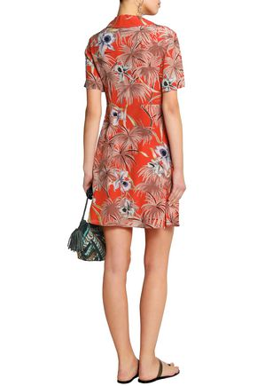 VALENTINO Floral-print silk crepe de chine mini dress