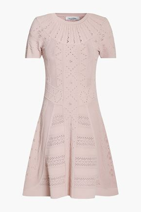 VALENTINO Flared pointelle-knit mini dress
