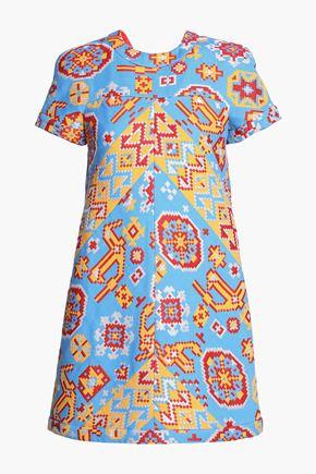VALENTINO Flared metallic cotton-blend jacquard mini dress